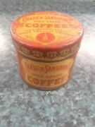 Vtg Chase + Sanborns Sample Coffee Tin Red/gold Can