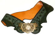 Vtg. Marconi Italy Snakeskin And Embossed Suede Belt- Stone And Brass Buckle