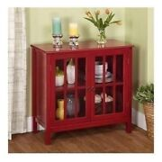 Red Wood Buffet Server Sideboard China Storage Cabinet Glass Door Curio Display