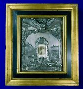 Antique German Germany Ww1 Silver Bronze Large Picture Frame Military Decor