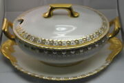 Royal Crown Derby Heraldic Gold Tureen W/lid And Underplate