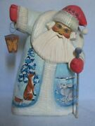 """Beautiful 12"""" Hand Painted Carved Wood Santa Claus, Russian Artist Signed"""