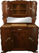 1920 Art Deco Buffet French Carved Grapes Oak And Marble Midcentury Mod