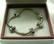 Genuine Silver Pandora Bracelet With Four Lovely Starter Charms In Original Box