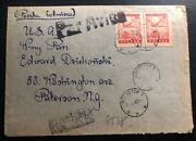 1947 Bialystok Poland Registered Airmail Cover To Paterson Nj Usa Sc 18