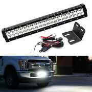 Lower Grille 20 Led Light Bar Kit W/ Brackets, Relay For 2017-19 Ford F250 F350