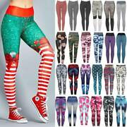 Womenand039s Christmas Xmas Gym Yoga Pants Sport Fitness Workout Printed Leggings X78