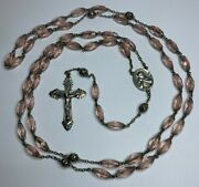 † Scarce Extra Long Vintage Sterling And Pink Oval Glass Rosary 43 1/2 Necklace †