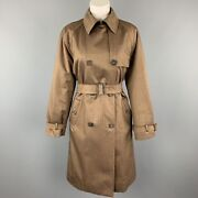 Loro Piana Size 8 Brown Wool Blend Suede Trim Double Breasted Trenchcoat