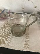 Vintage Silver Plated And Glass Coffee/tea Mugs