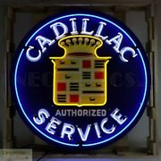Cadillac Service Authorized Neon Sign 36 Wall Window Steel Can Usa Warranty New
