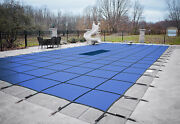 Gli Valuex Blue Solid Swimming Pool Winter Safety Cover W/ Mesh Drain And Pavers