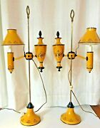 Early 19th Century Antique French Yellow Tole Painted Adjustable Lamps - A Pair