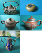 Antique Vintage Teapot One Cup Ceramic Metal Dragons Immortals Brass Pick One