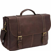 Heritage Colombian Leather Flapover Briefcase Brown 827691