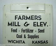 Old Farmers Mill Adv Thermometer Sign Feed Fertilizer Seed Coal Wichita Kansas