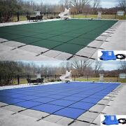 Gli Valuex Solid Green Or Blue Swimming Pool Winter Safety Cover W/ Cover Pump