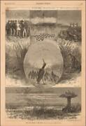 Snipe Bird Hunting, Decoys, Dogs By Gaston Fay, Antique Engraving Original 1880