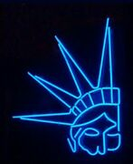 Times Square Night Bright Neon Led Sign New York Statue Of Liberty