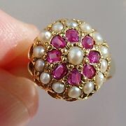 Stunning Antique Victorian 15ct Gold Ruby And Pearl Cluster Ring C1871