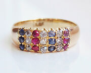 Stunning Antique Victorian 18ct Gold Ruby Sapphire And Diamond Ring C1895
