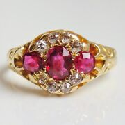 Stunning Antique Victorian 18ct Gold Ruby And Diamond Cluster Ring C1896