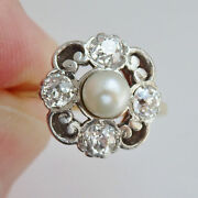 Stunning Antique Art Nouveau 18ct Gold Pearl And Diamond 0.90ct Ring C1910