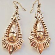 Stunning Large Antique Victorian 9ct Gold Drop Earrings C1878 On Hook Fittings