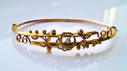 Stunning Antique Edwardian 9ct Gold Pearl Crescent And Floral Motif Bangle C1908