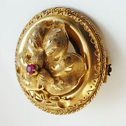 Stunning Antique Georgian Gold Ruby Set Hinged Leaf Cover Picture Brooch C1800
