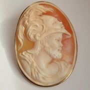 Finest Vintage 9ct Gold Shell Cameo Brooch Depicting Mars The Roman God Of War