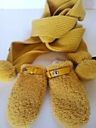 New 295 Coach Shearling Leather Trim Wool Mittens Yellow Size Xs/s