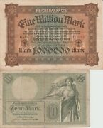 Germany Banknote - 10 Mark Year 1906 German Empire And 1000000 Mark 1923 Note