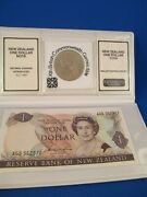 New Zealand One Dollar Note And The One Dollar Coin