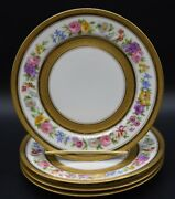 4 Charles Ahrenfeldt Limoges Signed Mireille Flowers And Gold Salad Plates Ahr706