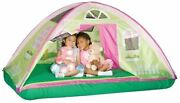 Girls Bed Tent Twin Green Pink Cottage Dream House Canopy Play Area Windows Dome