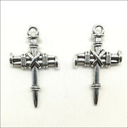 Lot 30pcs Cross Sword Antique Silver Charms Pendant Diy Jewelry Findings 3420mm