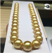 Huge 1813-16 Mm Natural South Sea Genuine Gold Round Pearl Necklace 888aa 14k