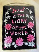 Old Jesus Is The Light Of The World Reverse Glass Foil Folk Art Sign Plaque