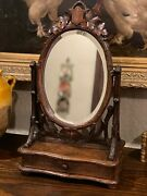 Antique French Oak Mirror Black Forest Dresser Vanity Table Top Jewelry Box