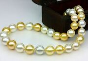 Huge 1812-15mm South Sea White Gold Round Pearl Necklace Good Luster