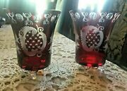 Pair Of Vintage Antique Bohemian Ruby Cut To Clear Art Glass Vases