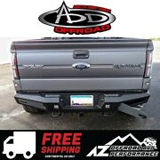 Add Honeybadger Rear Bumper With Tow Hooks Black For 2009-2014 Ford F150 Truck