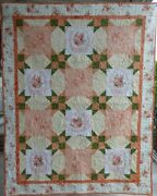 Quilt Rose Lap/baby Quilt44and039and039 X 56and039and039 Peachorangegreen Eleanor Burns