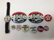 Lot Of Vintage Political Pins Nixon Agnew Lodge Campaign Pin Button Agnew Watch