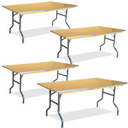 Event Party 6and039 Folding Table 4 Pack Rectangular Banquet Wooden Dining Tables