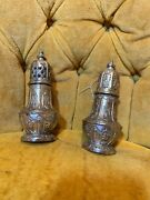 Vintage 5 1/4andrdquo Antique Corbell And Co. Silver Salt And Pepper Shakers Set Candco.