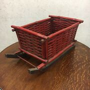 Vintage Red Bamboo Sleigh Christmas Wood Skates Woven Basket Wicker Decorative