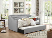 Light Grey Sofa Twin Bed Dorm Room Daybed With Trundle Bedroom Furniture