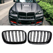 For Bmw X5 E70 X6 E71 Front Bumper Kidney Grilles Grill Gloss Black Double Line